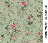 seamless floral pattern with... | Shutterstock .eps vector #566085331
