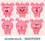 pink bunny emoji characters set ... | Shutterstock .eps vector #566092069