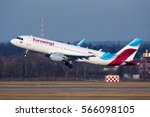 Small photo of DUSSELDORF / GERMANY - JANUARY 2017 Eurowings Airbus A320-214(WL), D-AEWS. cn 7439 banking left after becoming airborne to counteract the strong crosswind.