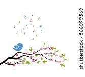 spring bird on tree singing... | Shutterstock .eps vector #566099569