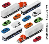isometric car set   van  bus ... | Shutterstock .eps vector #566101795