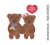 valentine bears with red... | Shutterstock .eps vector #566101801