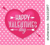 happy valentines day card with... | Shutterstock .eps vector #566101897