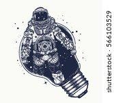 astronaut in a light bulb ... | Shutterstock .eps vector #566103529