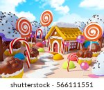 candy land landscape with... | Shutterstock . vector #566111551