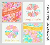 set of floral greeting cards... | Shutterstock .eps vector #566113459