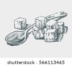 hand drawn sugar cubes and... | Shutterstock .eps vector #566113465