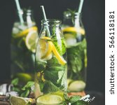 citrus fruit and herbs infused... | Shutterstock . vector #566118181