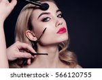 fashion studio portrait of...   Shutterstock . vector #566120755