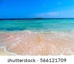 Beach Coast With Pink Sand Sea...