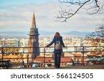 girl enjoying beautiful... | Shutterstock . vector #566124505