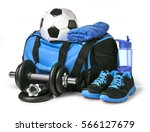sports bag with sports... | Shutterstock . vector #566127679