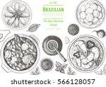 brazilian cuisine top view... | Shutterstock .eps vector #566128057