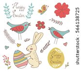 colorful easter related... | Shutterstock .eps vector #566138725