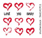 ink hearts card. valentines day ... | Shutterstock .eps vector #566141911