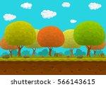 cartoon forest seamless... | Shutterstock .eps vector #566143615