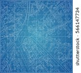 vector blueprint with town... | Shutterstock .eps vector #566147734