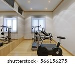 home gym interior with fitness...   Shutterstock . vector #566156275