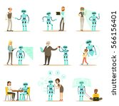 smiling people and robot... | Shutterstock .eps vector #566156401