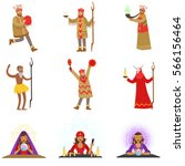 different cultures shamans and... | Shutterstock .eps vector #566156464