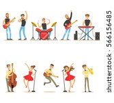 artists playing music... | Shutterstock .eps vector #566156485