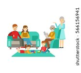 parents and grandparents... | Shutterstock .eps vector #566156941