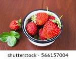 fresh rustic strawberry  in... | Shutterstock . vector #566157004