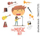 boy singer and musician  kids... | Shutterstock .eps vector #566157151