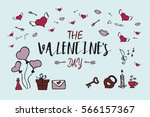 valentine card with hand drawn... | Shutterstock .eps vector #566157367