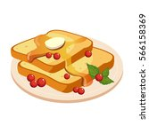 bread toasts with melting...   Shutterstock .eps vector #566158369