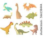 dinosaurs of jurassic period... | Shutterstock .eps vector #566158444
