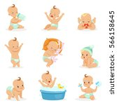 Adorable Happy Baby And His Daily Routine Series Of Cute Cartoon Infancy And Infant Illustrations   Shutterstock vector #566158645