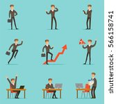 businessman work process set of ... | Shutterstock .eps vector #566158741