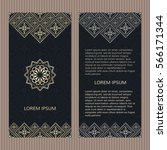 set of two islamic luxury cards.... | Shutterstock .eps vector #566171344