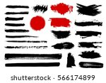 set of black paint  ink brush... | Shutterstock .eps vector #566174899