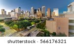 aerial view downtown houston... | Shutterstock . vector #566176321