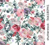 seamless watercolor floral... | Shutterstock . vector #566180941