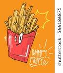 pommes frites cute illstration... | Shutterstock .eps vector #566186875