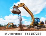 Excavator At Sandpit During...