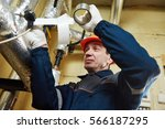thermal insulation. worker... | Shutterstock . vector #566187295
