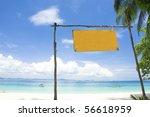 Blue Beach With Empty Signboar...