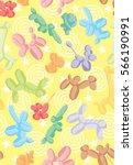 balloon animals pattern.... | Shutterstock .eps vector #566190991