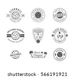 set of vintage volleyball...   Shutterstock . vector #566191921
