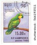 Small photo of CAMBODIA - CIRCA 1989: A stamp printed in Cambodia shows Blue-fronted Amazon (Amazona aestiva), circa 1989