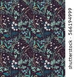 Meadow. Wildflowers pattern. Hand drawn Floral pattern. Seamless vector texture. Elegant template for fashion prints. Surface with meadow flowers and herbs. Dark violet background.