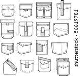 set of pockets outlines   Shutterstock .eps vector #56619781