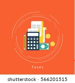 accounting and taxes flat... | Shutterstock .eps vector #566201515