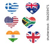 retro heart flags isolated on... | Shutterstock .eps vector #566203471