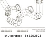 drawings of steel structures.... | Shutterstock .eps vector #566203525
