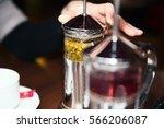 photo of chamomile tea in press ... | Shutterstock . vector #566206087